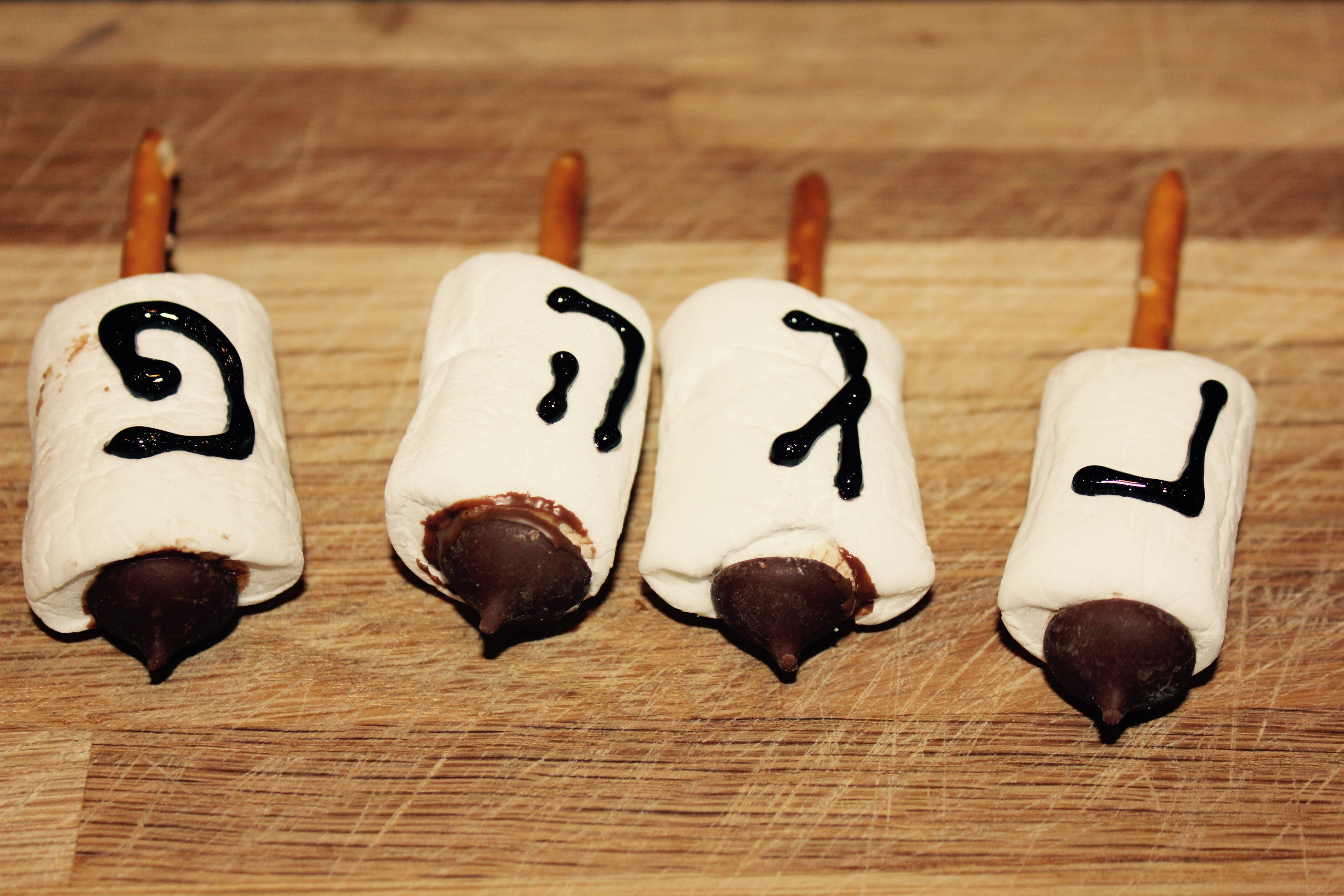 Marshmallow Dreidels - Challah Crumbs